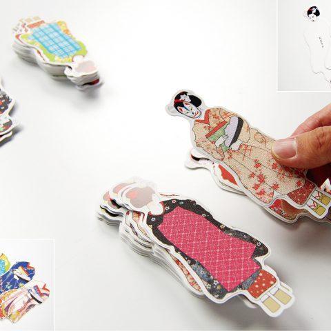 おぼこかるた:絹織物シールの着物を着せ替えて遊ぶカードゲーム