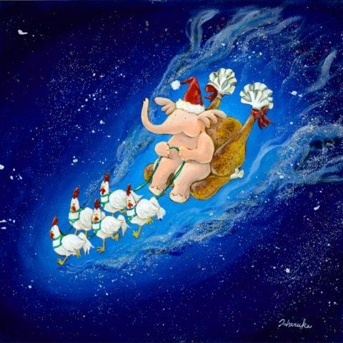 ハネゾウサンタとニワトリたちは 今年もみんなに幸せを運ぶ。