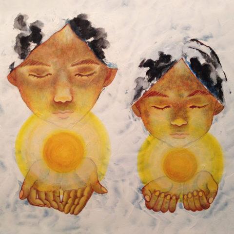 """2015年に初個展を開催。 長女が高校へ入学するタイミングに、それまで色々な表現方法で描いて来た娘たちの姿を『個展』という形で彼女たちの記憶に 残るようにと望み開催した個展だった。 『訪れる未来に 姉妹それぞれが自分自身の""""光""""を見つけられるよう』 願いを込めたアクリル画。"""