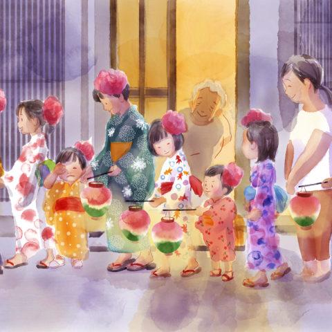 わたしのマチオモイ帖応募作品です。私の故郷、長野県松本市で8月上旬に行われる「ぼんぼん」という行事のようすを描きました。これは紙の花を頭につけ、浴衣にほおずき提灯をさげた格好で、歌を歌いながら町内を練り歩くというものです。 私は毎年、祖母の縫った金魚柄の浴衣を着せてもらうのが楽しみでした。 薄暗がりに浮かび上がる浴衣の白さや、提灯の明かりのやわらかさを、今でも鮮明に覚えています。