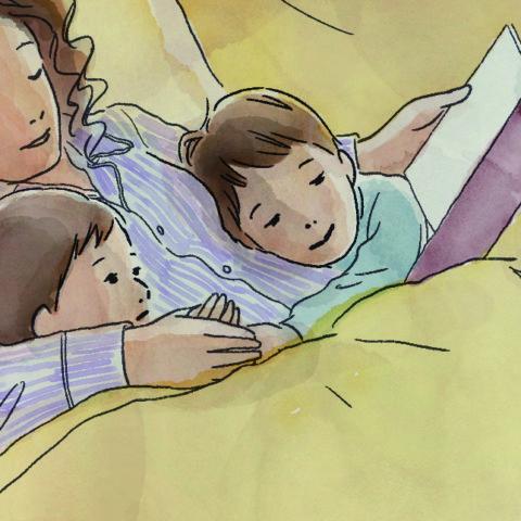 夜寝る前の、親子のひとときを切り取りました。私は自分の感じたことをベースに描くので、子どもの頃の自分と、大人になり、母親になった自分と、両方の視点が作品に込められているようです。 母親の腕に身を預け、物語の世界に没頭している子どもの表情と、寝落ちしそうになりながらも読み聞かせを頑張る母親の表情を、柔らかい光で包み込むように描きました。