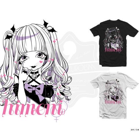 カリスマ女装家・ひめにぃ様の似顔絵イラストのTシャツデザイン。イラスト制作からデザインまで制作しました。https://r11r.fashionstore.jp/items/23103345