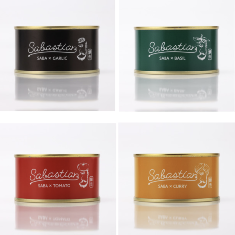サバのオイル漬け缶詰のオリジナルキャラクター制作。ガーリック、トマト、バジル、カリーの4種展開。
